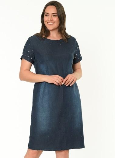 Selen Kısa Kollu Midi Elbise Mavi